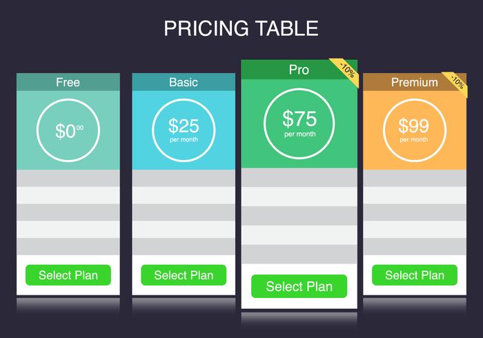 Gratis Pricing Tabel Vector