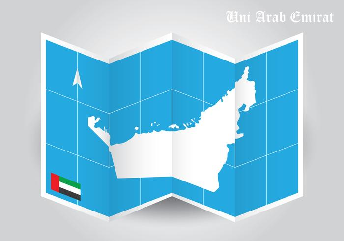 UAE Map Folded Paper Vector