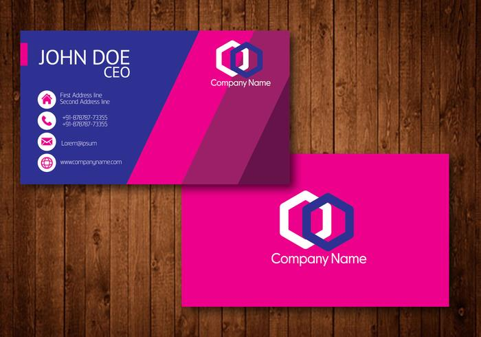 Hot Pink Creative Visiting Card Vector - Download Free Vector Art