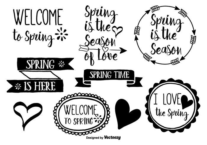 Etichette di vettore di primavera disegnata a mano