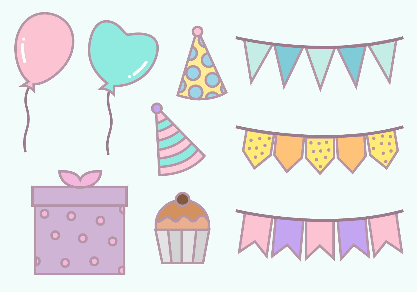 Free Birthday Party Elements Vector - Download Free Vector Art, Stock ...