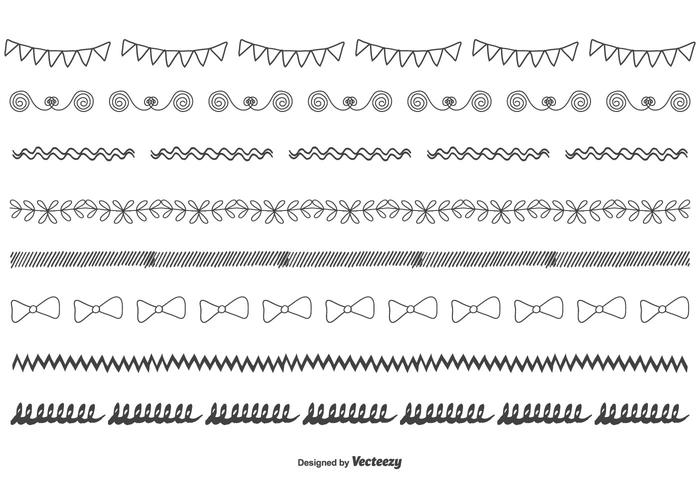 Hand Drawn Vector Border Set