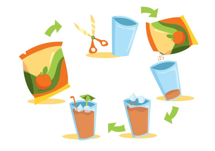 Juice Mix Beverage Vector Set