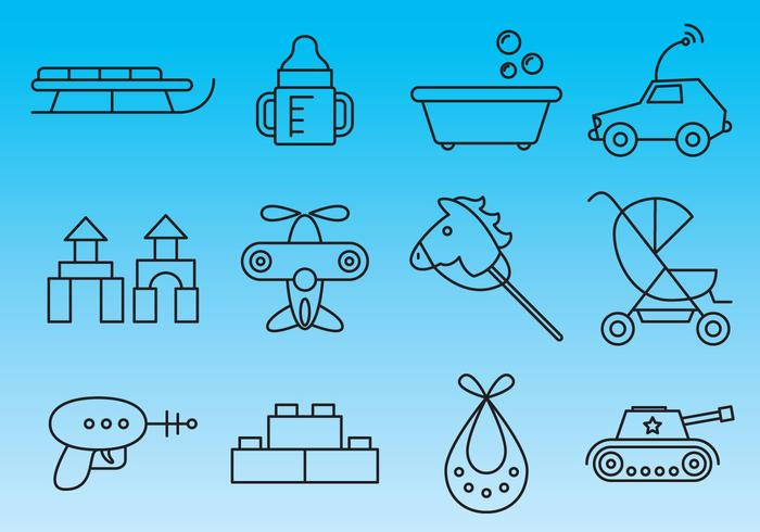 Toys Thin Line Icon Vectors