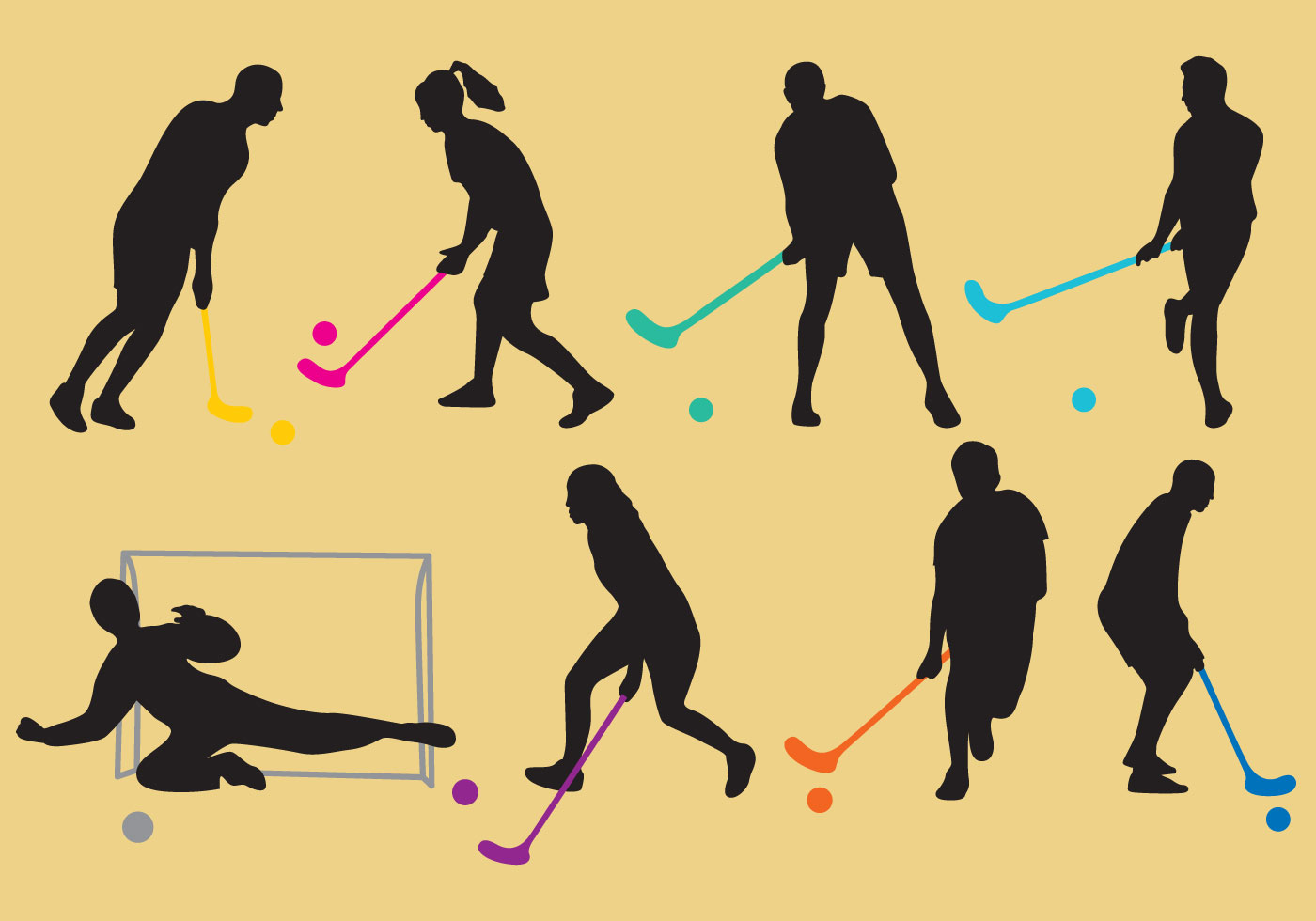 Cute Watercolor Olumpic Sports Equipment Background Vector: Floorball Silhouette Vectors
