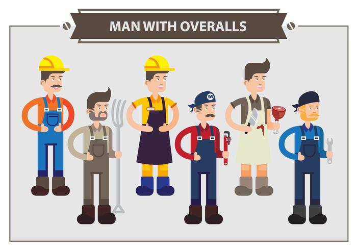 Man With Overalls Vector