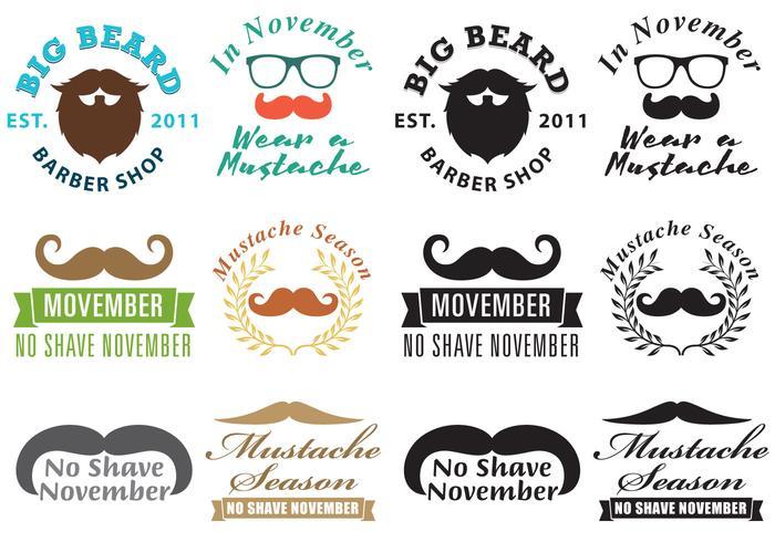 Mustache Movember Logo Vectors