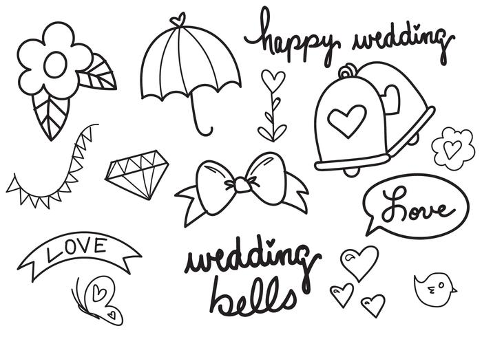 Wedding Bells Hand Drawn Vector Set