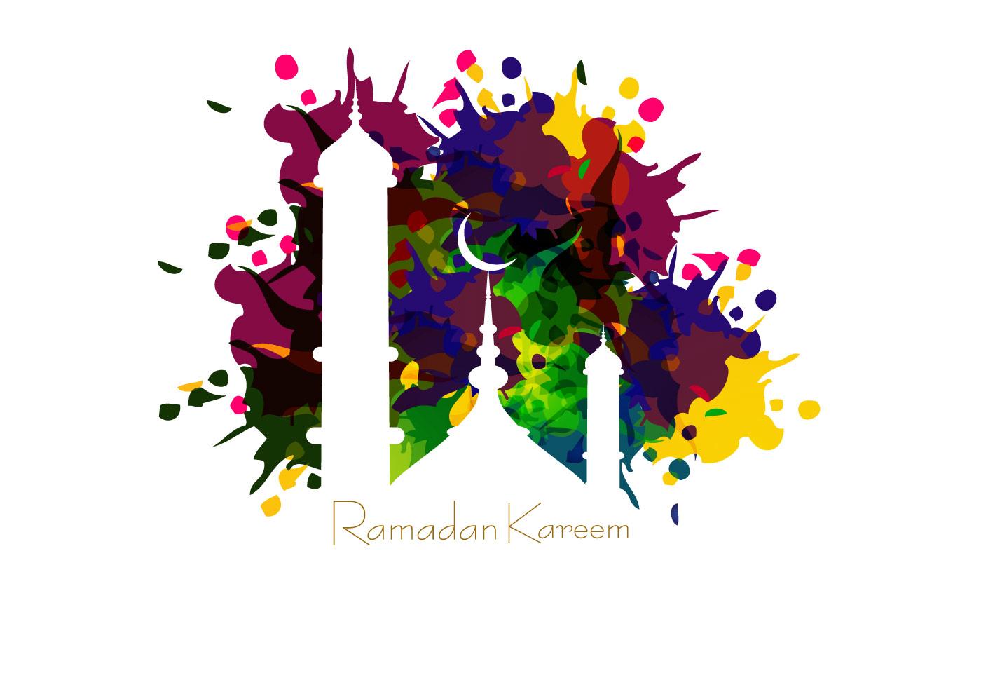 mosque on ramadan kareem card download free vector art
