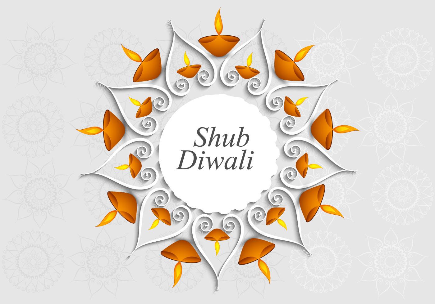 Shubh Diwali With Rangoli And Oil Lamp