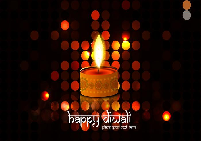 Illuminated Background With Diwali Oil Lamp