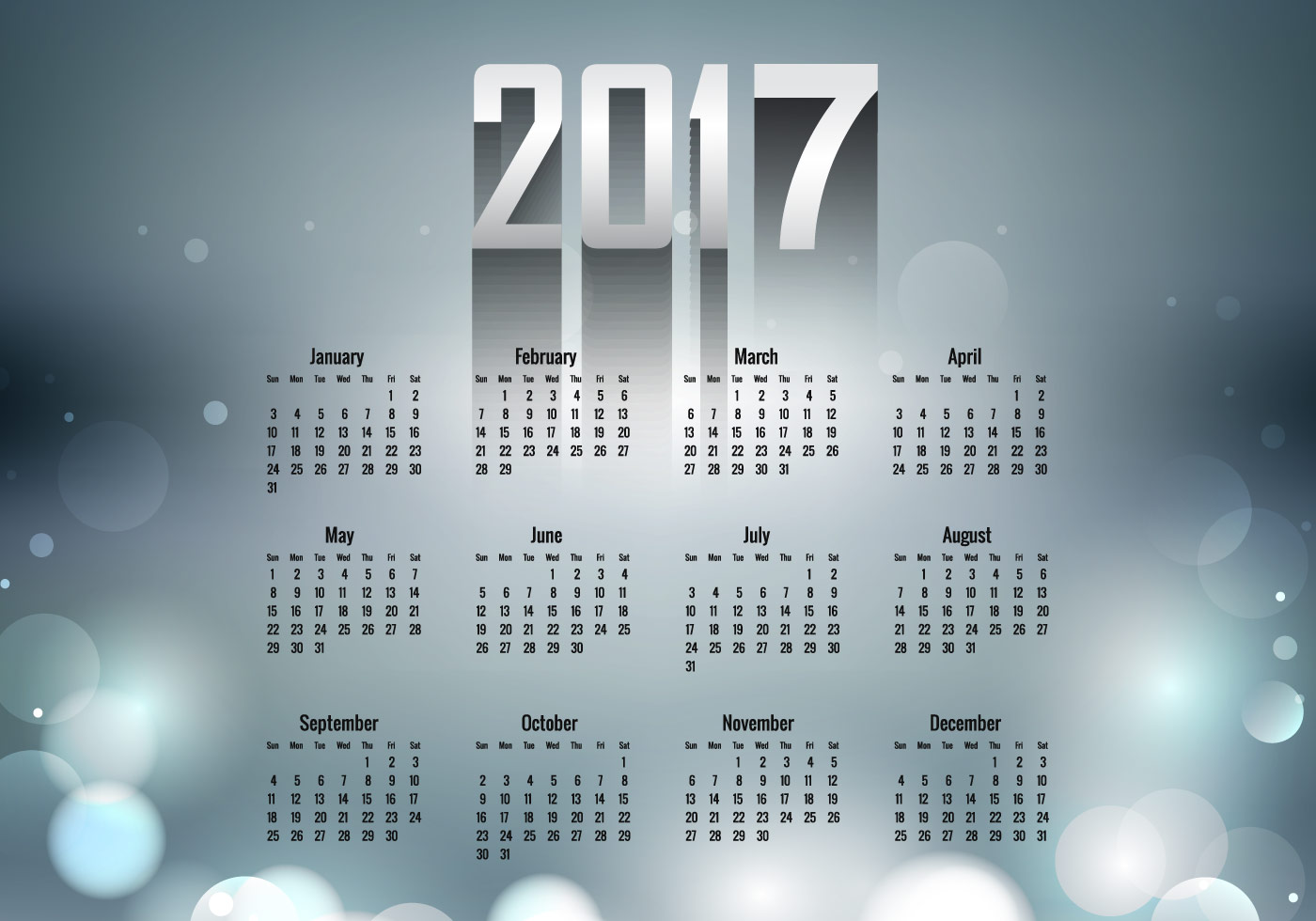 year 2017 calendar with grey color