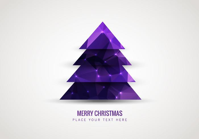 Purple Low Polygon Style Christmas Tree