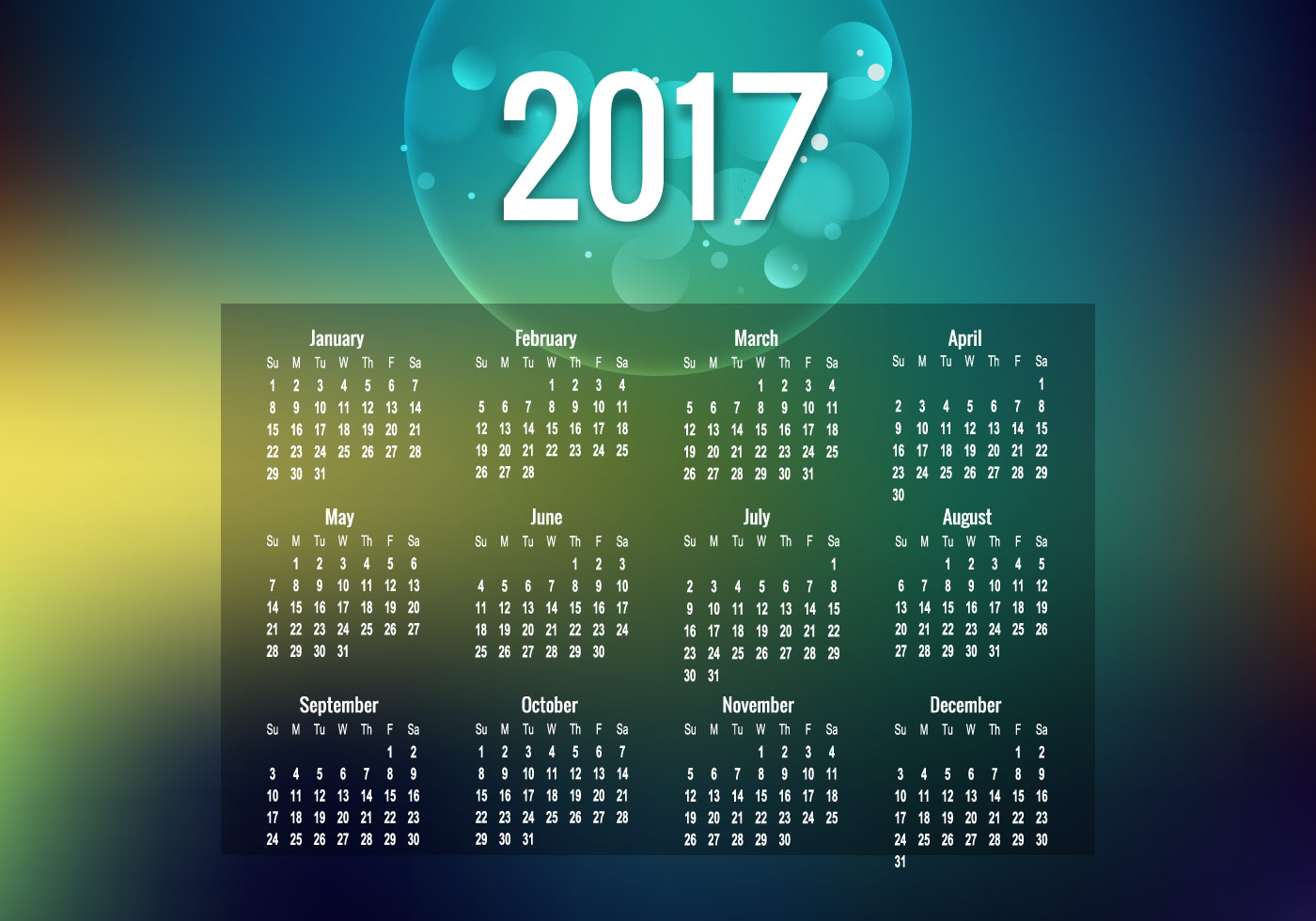 Year 2017 Calendar With Bubble Download Free Vector Art