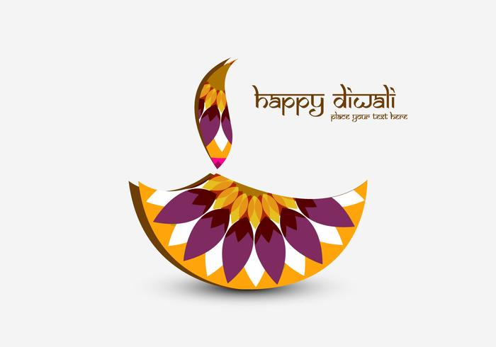 Happy Diwali Met Decoratieve Diya