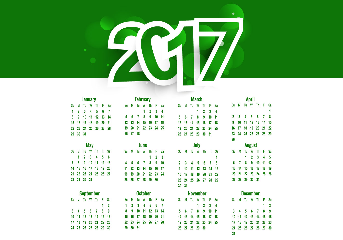 Green Colored Calendar Of Year 2017 Download Free Vector