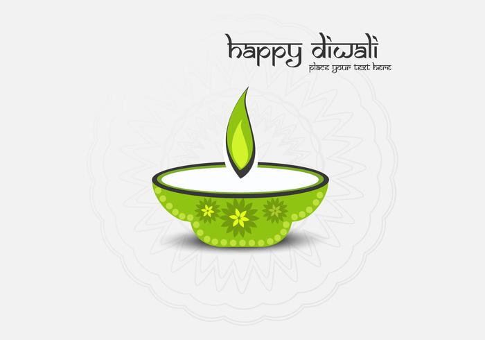 Happy Diwali Text With Oil Lamp On Grey Background