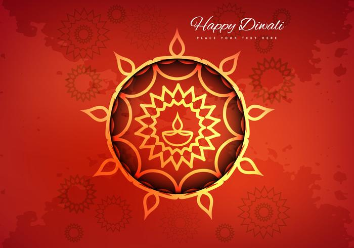 Hindu Diwali Festival Card With Flora Background