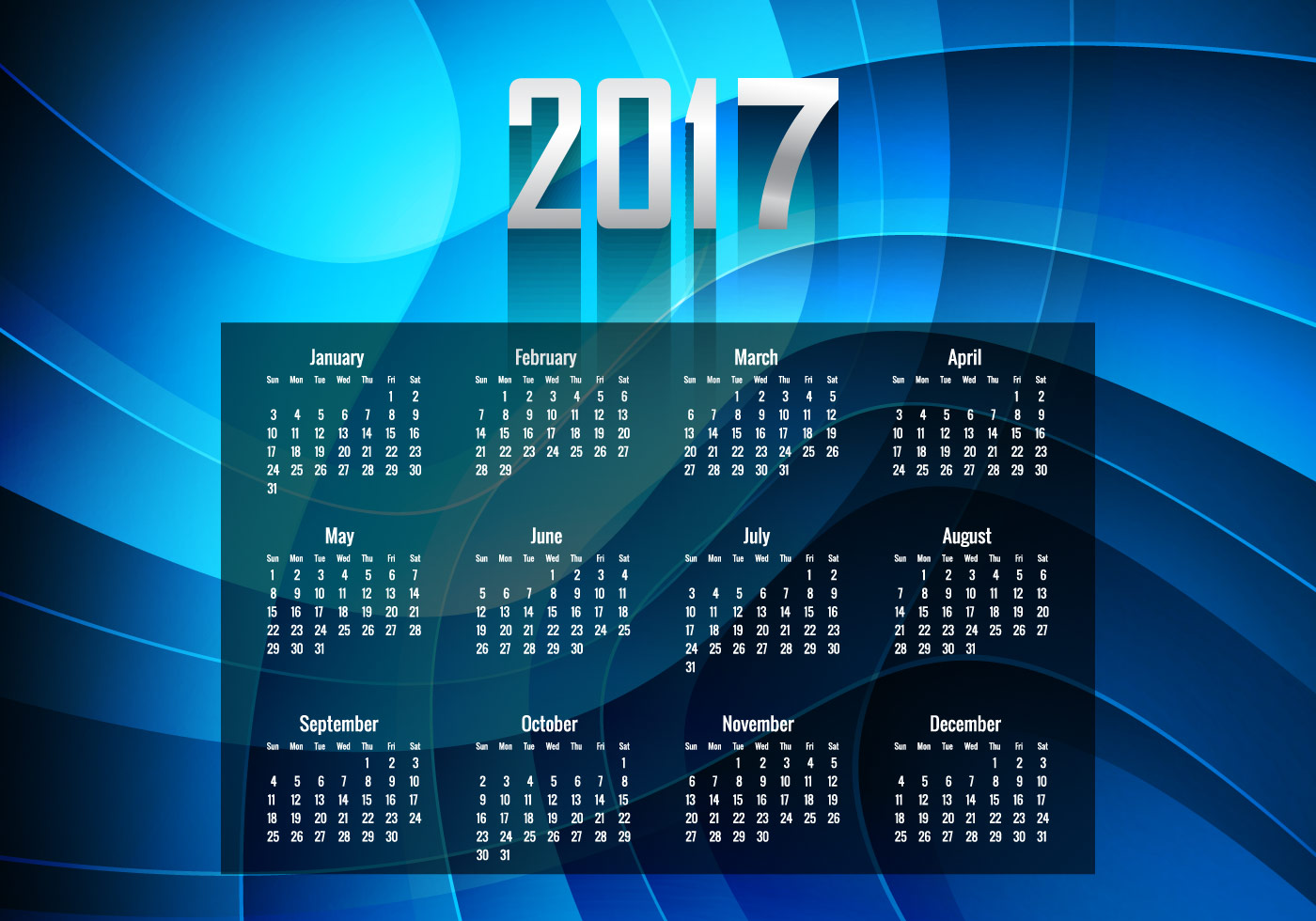 Glowing Blue Year 2017 Calendar - Download Free Vector Art, Stock ...