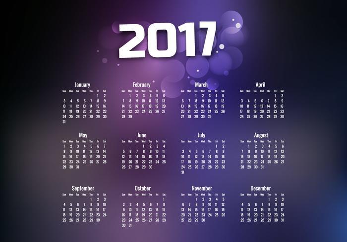 Year 2017 Calendar With Purple Design