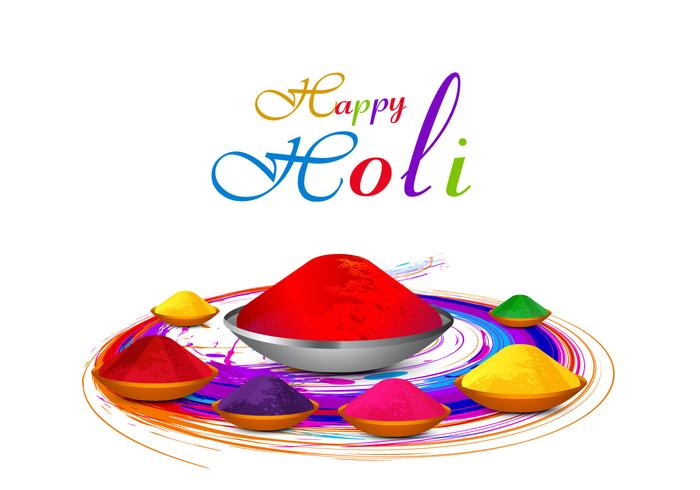 Colorful Holi Powder Color On White Background