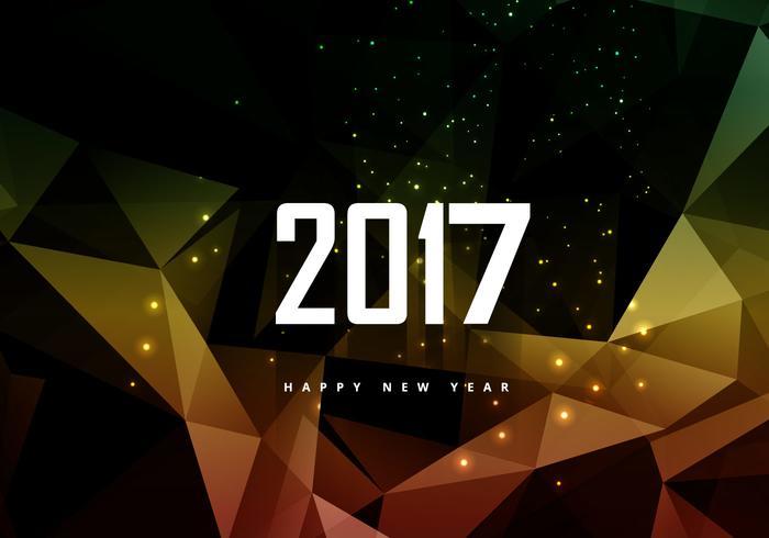 Glowing Polygonal 2016 New Year Card