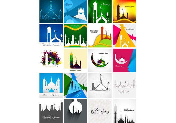 Set Of Colorful Ramadan Kareem Card