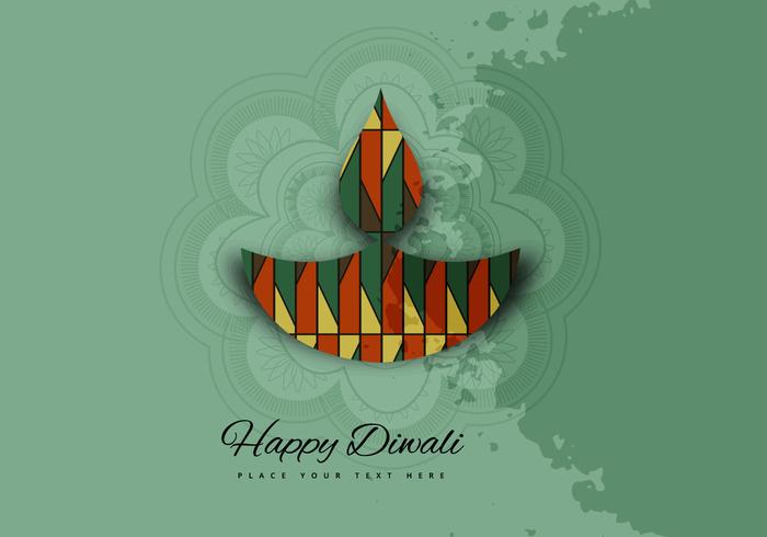Decorative Oil Lamp With Rangoli On Diwali