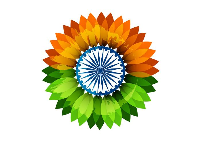 Floral Indian Flag With Asoka Wheel - Download Free Vector