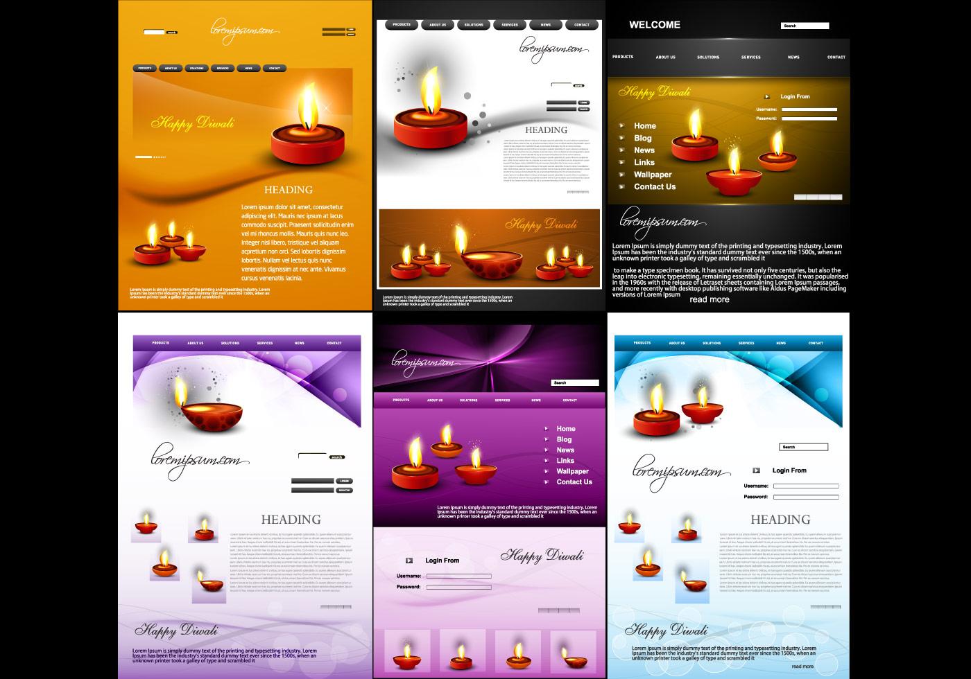 Website Template For Diwali Download Free Vector Art Stock