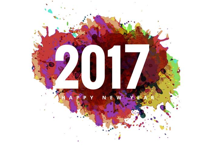 Colorful Grunge On 2017 Happy New Year Card