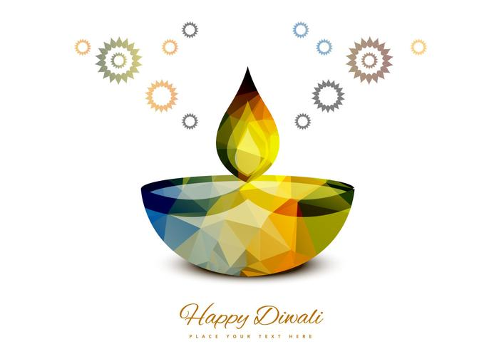 Colorful Diwali Lamp On White Background