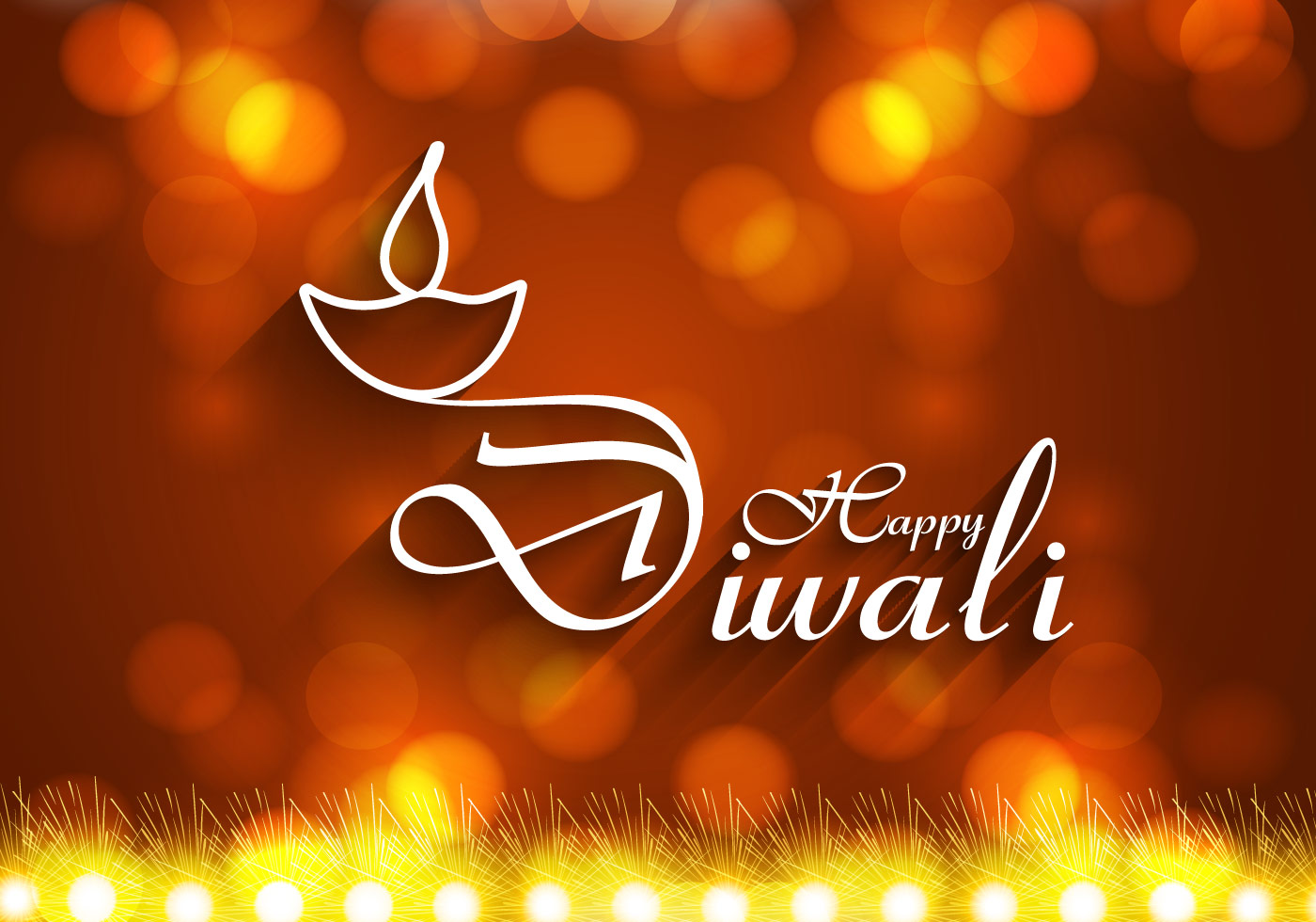 Happy Diwali With Oil Lamp On Greeting Card Download Free Vector