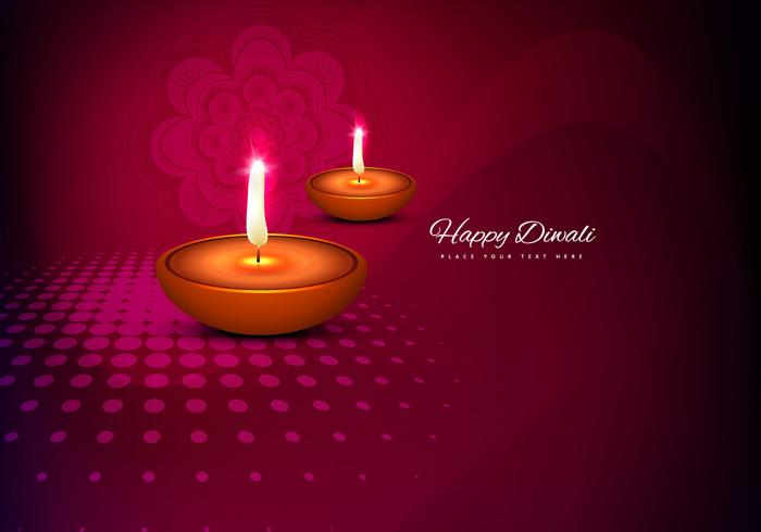 Glowing Diyas On Decorative Card