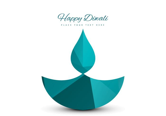 Vector Diya Design On Happy Diwali Card
