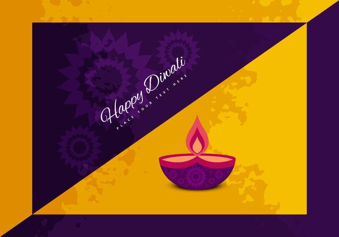 Illustration Of Happy Diwali With Oil Lamp