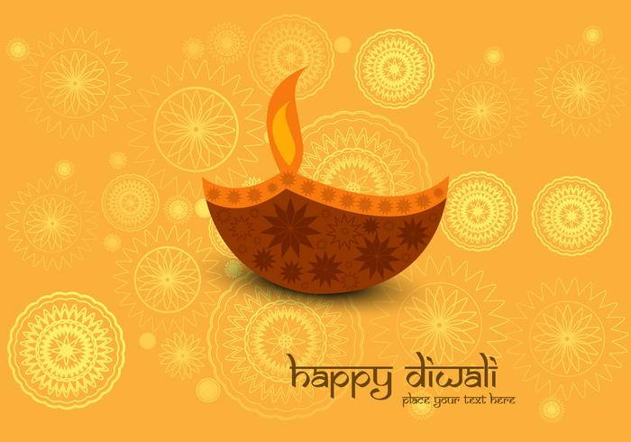 Decorative Diya On Diwali Card