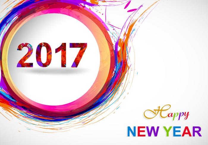 Happy New Year 2017 On Grey Background