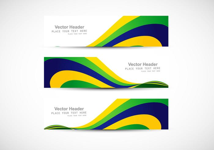 Header With Brazilian Flag Wave For Business Card