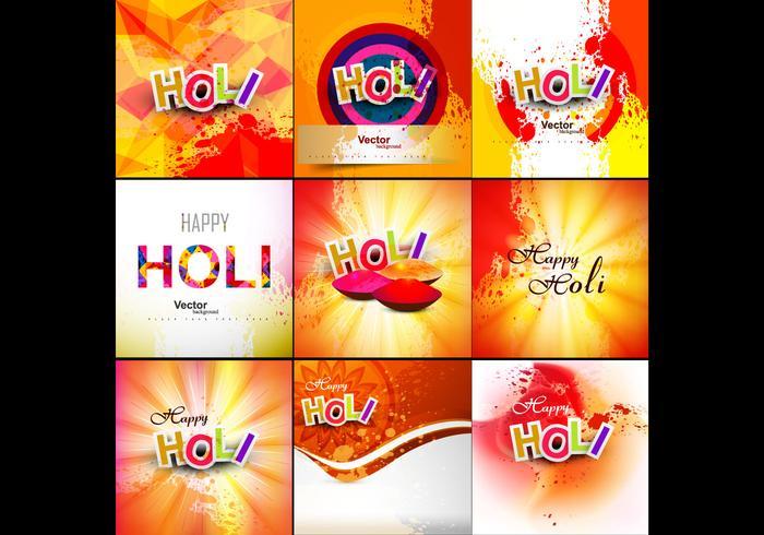 Set Of Happy Holi Card