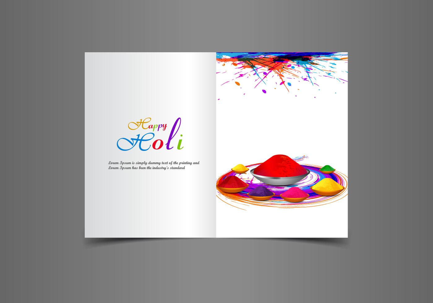 beautiful happy holi greeting card download free vector