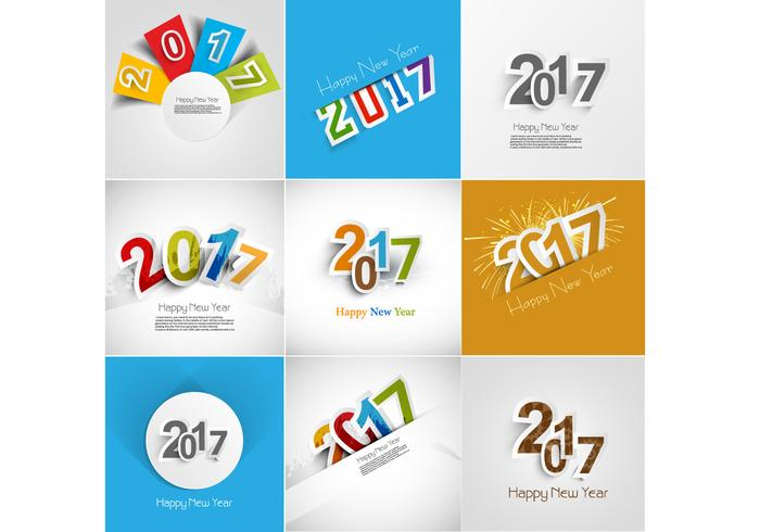 set of happy new year card