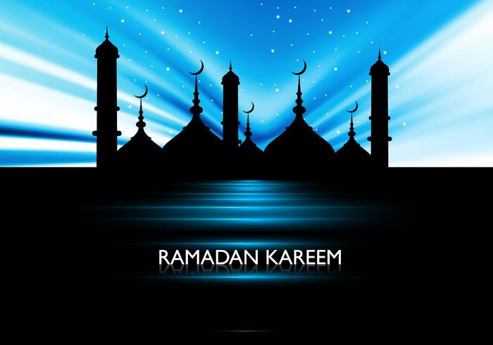 Silhouette Of Mosque On Ramadan Kareem Card
