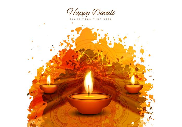 Happy Diwali With Three Diya On Grunge Background