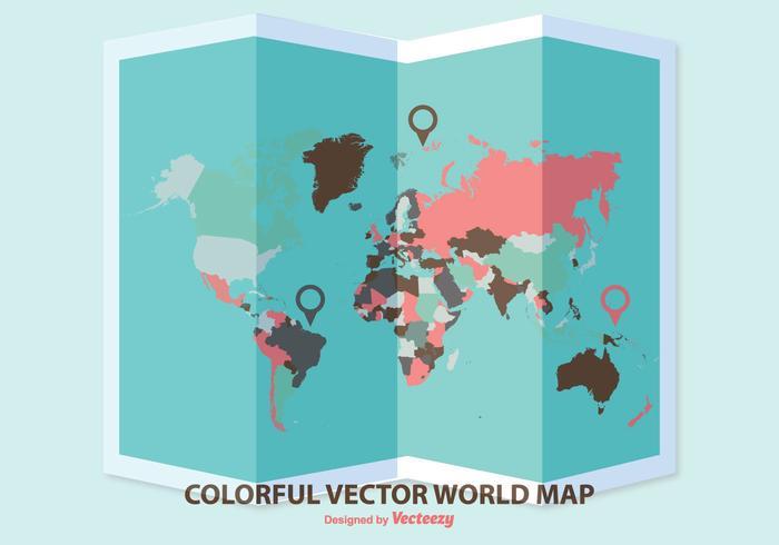Gevouwen Wereldkaart Illustratie