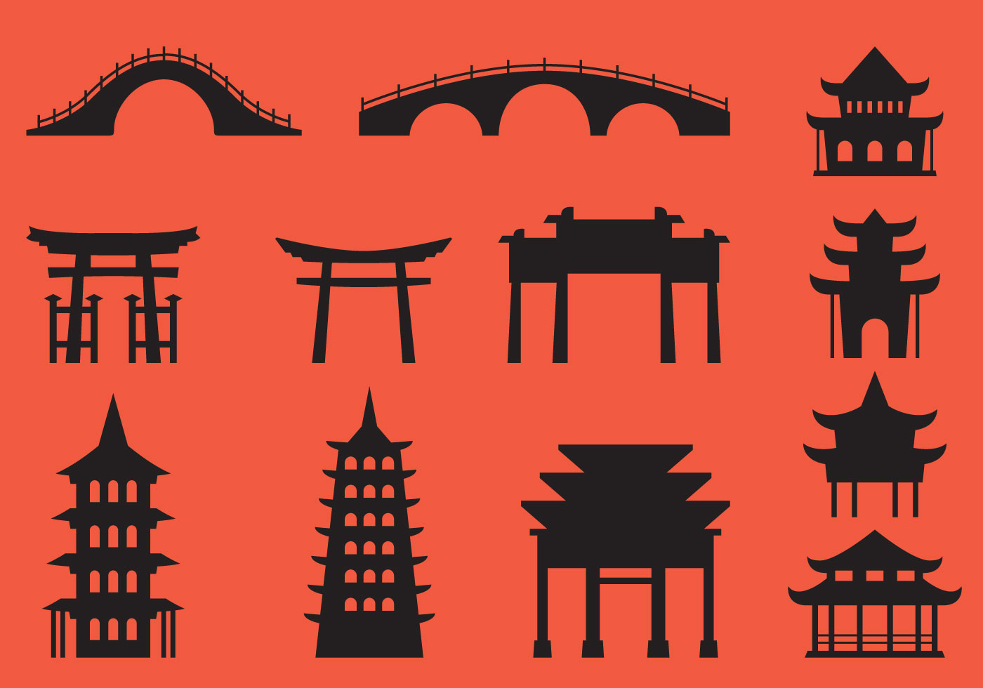 Japanese Architecture Silhouette Vectors Download Free