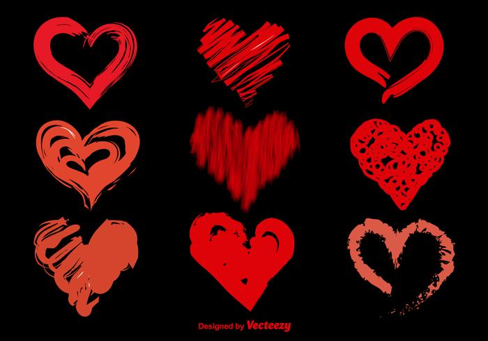 Hand Drawn Sketchy Vector Hearts