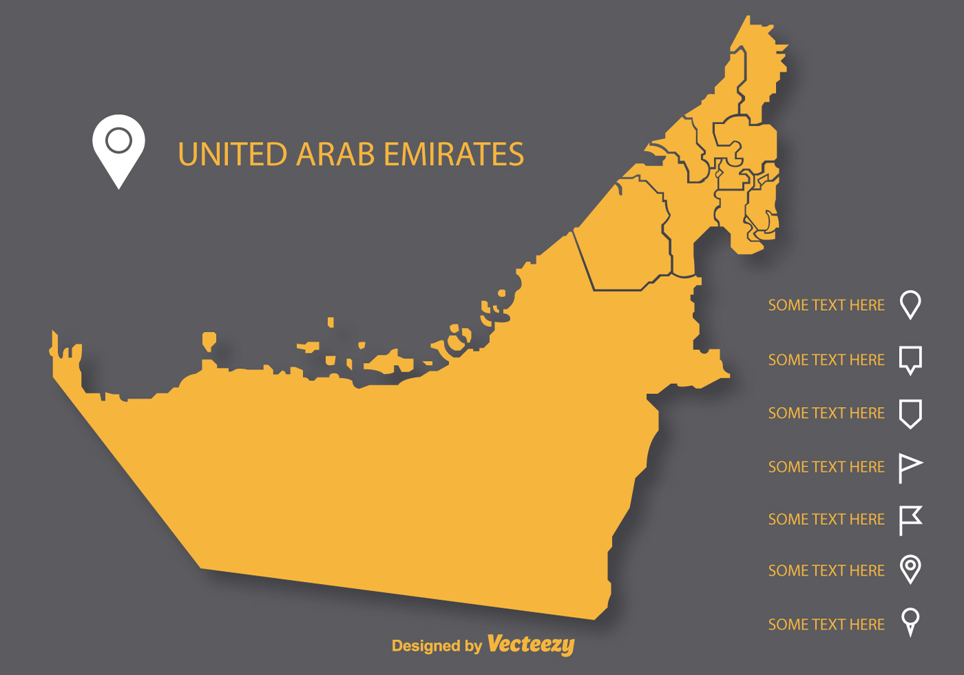 Vector Uae Flat Map On Gray Background Download Free Vector Art - Uae map