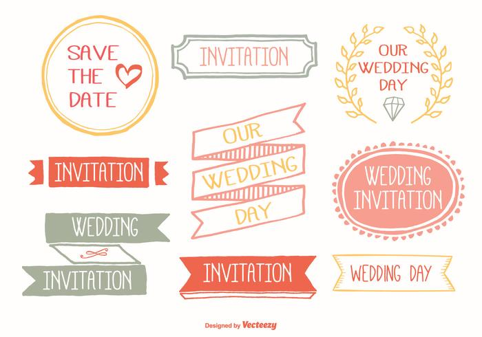 Cute Hand Drawn Wedding Label Set vector