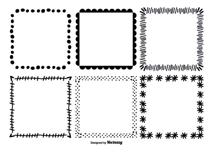 Lindo dibujado a mano vector marco conjunto